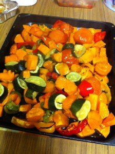 Half of the weekly roasted veg!